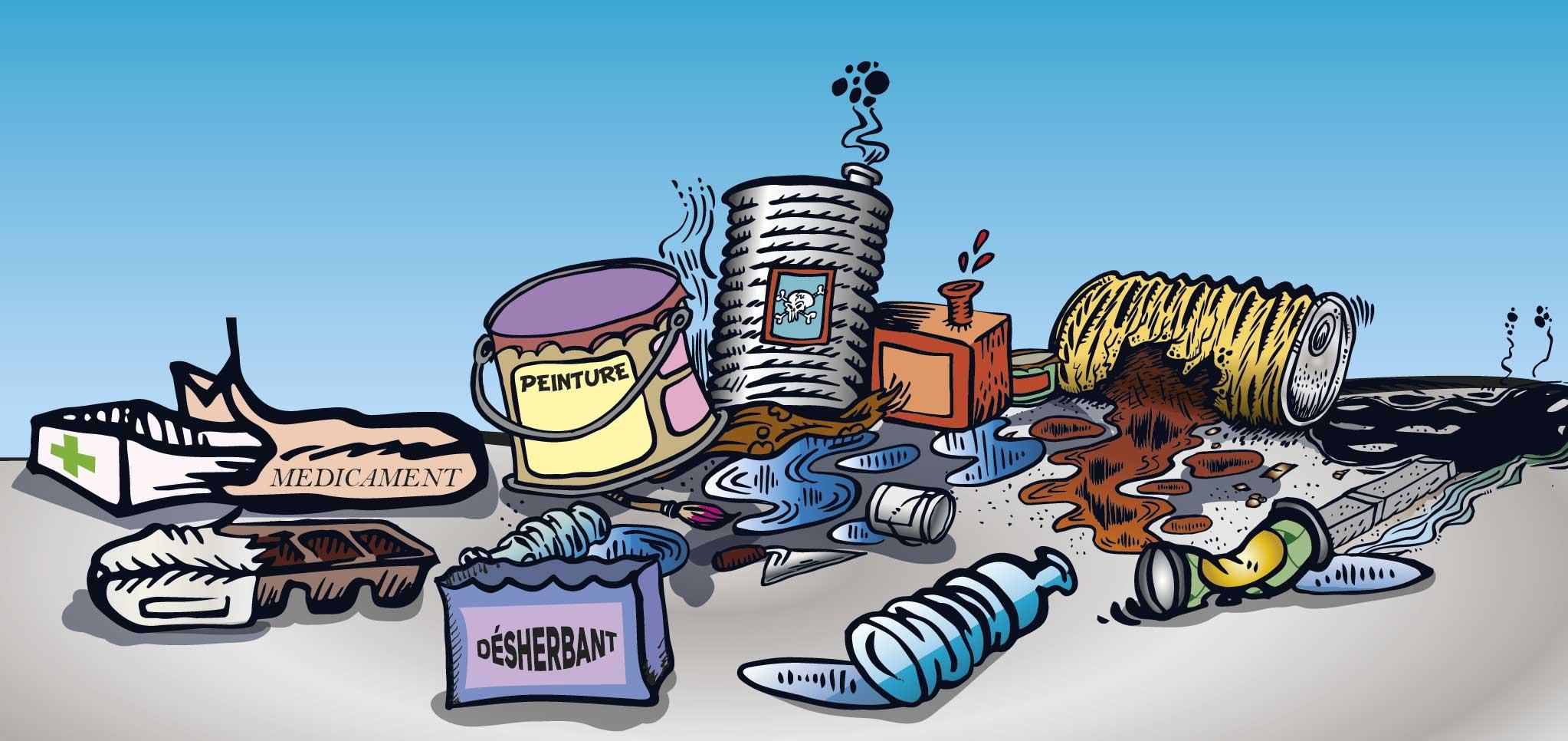 Tas d'ordures et de produits polluants
